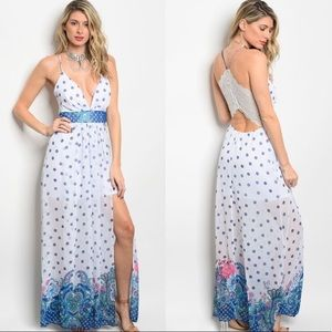 White/Blue/Green Maxi Dress w/ Zippered Lace Back